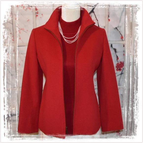 Jones New York Jackets & Blazers - Fully Lined Red Wool/Angora Zip Up Jacket